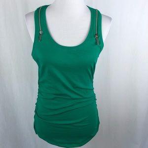Michael Kors zipper shoulder tank kelly green